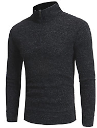 cheap -Men's Solid Colored Long Sleeve Slim Pullover Sweater Jumper, Round Neck Black / Navy Blue / Gray M / L / XL