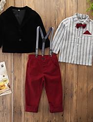 abordables -Enfants Bébé Garçon Actif Basique Couleur Pleine Rayé Noeud Manches Longues Normal Normal Coton Ensemble de Vêtements Noir