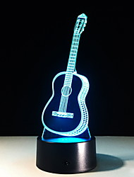 cheap -3D Guitar Night Light Illusion Glow LED Lamp 7 Color Change Bedroom Home Music Decoration Christmas Birthday Gifts for Child Kid Boy Girl for Musical Instrument Shop Party Supply Touch Sensor