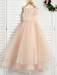cheap -A-Line Jewel Neck Ankle Length Organza / Satin Junior Bridesmaid Dress with Beading / Tier
