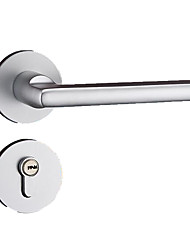 cheap -Silver white European simple space aluminum solid split door lock indoor bedroom wooden door mechanical hardware lock