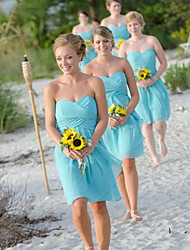 cheap -A-Line Sweetheart Neckline Knee Length Chiffon Bridesmaid Dress with Ruching