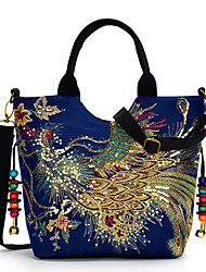 cheap -Women's Embroidery Canvas Top Handle Bag Embroidery Blue / Black / Red / Fall & Winter