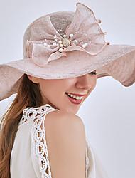 Недорогие -Жен. Активный Классический Симпатичные Стиль Шляпа от солнца Сетка,Контрастных цветов Цветочный принт Весна Лето Бежевый Серый Хаки