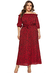 cheap -Sheath / Column Elegant Plus Size Holiday Cocktail Party Dress Off Shoulder Half Sleeve Ankle Length Chiffon with Draping Pattern / Print Split Front 2020