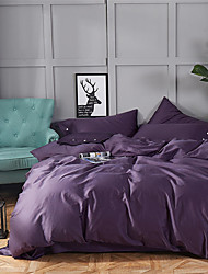 cheap -Duvet Cover Sets Solid Colored Cotton Yarn Dyed 4 PieceBedding Sets