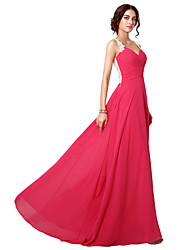 cheap -A-Line Spaghetti Strap Sweep / Brush Train Chiffon Elegant Formal Evening Dress with Appliques 2020