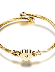 cheap -Personalized Customized Bracelet Titanium Steel Classic Name Engraved Gift Promise Festival Heart Shape 1pcs Gold Silver Rose Gold / Laser Engraving