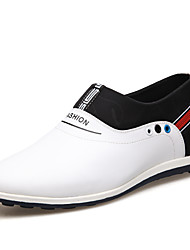 cheap -Men's Leather Shoes Leather Spring & Summer British Loafers & Slip-Ons Height-increasing Black / Black / Silver / White / Office & Career