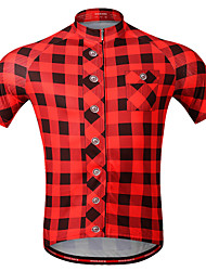 cheap -WOSAWE Men's Short Sleeve Cycling Jersey Red Blue Bike Jersey Top Mountain Bike MTB Road Bike Cycling Breathable Moisture Wicking Quick Dry Sports Polyster Clothing Apparel / Stretchy / Advanced
