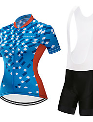 cheap -Women's Short Sleeve Cycling Jersey with Bib Shorts Blue / White Blue / Black Plaid / Checkered Bike Clothing Suit Quick Dry Sports Plaid / Checkered Mountain Bike MTB Road Bike Cycling Clothing