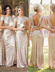 cheap -Mermaid / Trumpet Jewel Neck Floor Length Sequined Bridesmaid Dress with Ruching