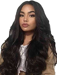 cheap -Human Hair Lace Front Wig Middle Part style Peruvian Hair Body Wave Black Wig 130% Density Women Women's Long Others Clytie