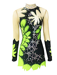 cheap -Rhythmic Gymnastics Leotards Artistic Gymnastics Leotards Women's Girls' Leotard Emerald Green High Elasticity Handmade Print Jeweled Sleeveless Competition Ice Skating Rhythmic Gymnastics Figure
