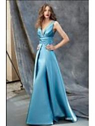 cheap -A-Line Plunging Neck Sweep / Brush Train Satin Elegant Formal Evening Dress with Ruched 2020
