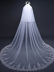 cheap -Two-tier Elegant & Luxurious / European Style Wedding Veil Cathedral Veils with Sequin / Appliques 118.11 in (300cm) Lace / Tulle / Oval