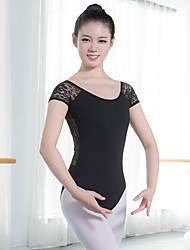 cheap -Ballet Leotards Women's Training / Performance Cotton Blend / Stretch Yarn Split Joint Short Sleeve Leotard / Onesie