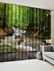 cheap -3D Print Window Curtain Window Treatments Landscape 2 Panels Room Darkening