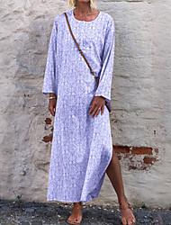 cheap -Women's Shift Dress Maxi long Dress - Long Sleeve Print Split Spring Fall Casual Vintage Daily 2020 Purple Yellow Blushing Pink Gray S M L XL