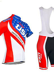 cheap -21Grams American / USA National Flag Men's Short Sleeve Cycling Jersey with Bib Shorts - Black / Red Red+Blue Bike Clothing Suit Breathable Moisture Wicking Quick Dry Sports Terylene Polyester Taffeta