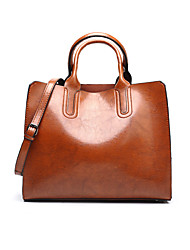 cheap -Women's Polyester / PU Top Handle Bag Leather Bags Solid Color Wine / Black / Blue / Fall & Winter