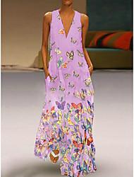 cheap -Women's Plus Size Beach Boho Maxi Slim A Line Dress - Animal V Neck Summer Light Blue White Purple S M L XL