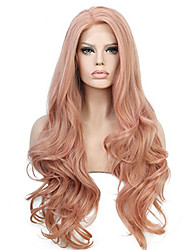 cheap -Synthetic Wig Curly Side Part Wig Pink Long Pink / Purple Synthetic Hair 28 inch Women's Fashionable Design Party Women Pink