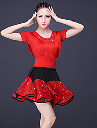 cheap -Latin Dance Skirts Glitter Tassel Split Joint Women's Training Performance Short Sleeve High Milk Fiber Polyester