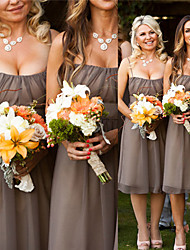 cheap -A-Line Spaghetti Strap Knee Length Chiffon Bridesmaid Dress with Ruching