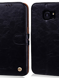 Недорогие -Кейс для Назначение SSamsung Galaxy S7 edge / S7 Бумажник для карт / Флип Чехол Однотонный Твердый Кожа PU