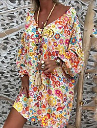 cheap -Women's Loose Tunic Dress - Floral Rainbow Fruit Ruched Patchwork Print V Neck Black White S M L XL