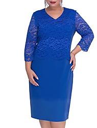 cheap -Women's Plus Size Basic Slim Sheath Dress - Solid Colored V Neck Lace Black Royal Blue Green XL XXL XXXL XXXXL