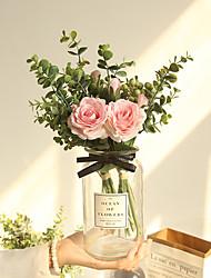 cheap -artificial flowers bouquet home decor wedding party decorative roses flowers bridal bouquet