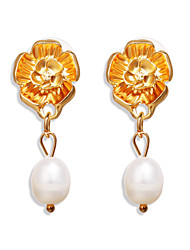 cheap -Women's Pearl Drop Earrings Flower Simple Romantic Earrings Jewelry Gold For Gift Festival 1 Pair