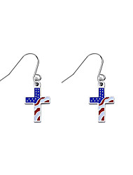 cheap -Women's Earrings Hanging Cross Earrings Classic American flag Cross Patriotic Jewelry European Trendy Stainless Steel Earrings Jewelry Rainbow For Gift Festival 1 Pair