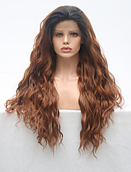 cheap -Synthetic Lace Front Wig Wavy Side Part Lace Front Wig Long Ombre Black / Medium Auburn Synthetic Hair 18-24 inch Women's Adjustable Heat Resistant Party Brown