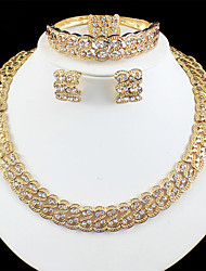 cheap -Women's Gold Bridal Jewelry Sets Link / Chain Wave Vintage Rhinestone Earrings Jewelry Gold For Wedding Engagement Gift 1 set