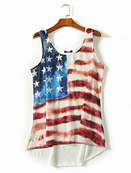 cheap -Adults' Women's Cosplay American Flag Cosplay Costume Vest For Halloween Daily Wear Cotton Independence Day Vest