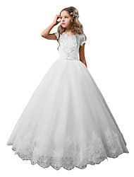 cheap -Princess Floor Length Wedding / Birthday / First Communion Flower Girl Dresses - Cotton / nylon with a hint of stretch / Lace / Tulle Short Sleeve Jewel Neck with Lace / Crystals / Rhinestones