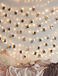 cheap -LOENDE 5m 50 LEDs Photo Clip Holder String Lights Warm White / RGB / White For Christmas New Year Party Wedding Home Decoration Fairy lights Battery Powered