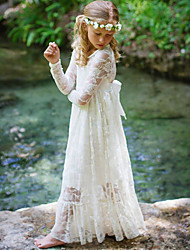 cheap -Lace Flower Girl Dress Ivory White Long Sleeves Boho Rustic Gown