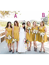 cheap -A-Line Jewel Neck Knee Length Chiffon Bridesmaid Dress with Draping / Ruching