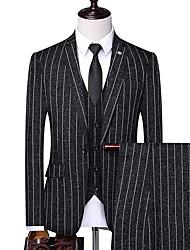 abordables -Homme costumes, Rayé Revers Cranté Polyester Noir / Bleu Marine / Beige