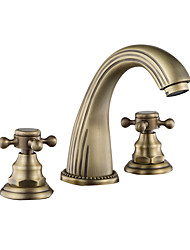 cheap -Bathroom Sink Faucet - Widespread Antique Copper / Black Centerset Two Handles One HoleBath Taps