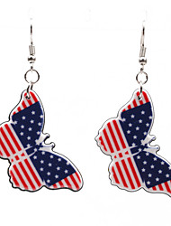 cheap -Women's Earrings Classic American flag Butterfly Flag Patriotic Jewelry European Trendy Earrings Jewelry Silver For Gift Festival 1 Pair