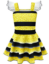 cheap -Kids Girls' Basic Cute Striped Sleeveless Knee-length Dress Yellow