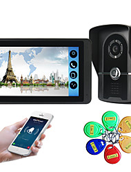 cheap -618FGID11 7 inch capacitive touch screen video camera wired video doorbell wifi / 3G / 4G remote call unlock storage visual intercom external machine ID card function one to one