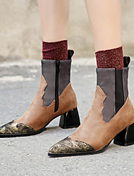 cheap -Women's Boots Fashion Boots Chunky Heel Pointed Toe PU Mid-Calf Boots Vintage / British Fall & Winter Black / Brown / Party & Evening / Combat Boots