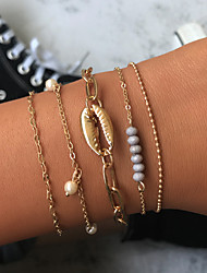 cheap -5pcs Women's Vintage Bracelet Earrings / Bracelet Pendant Bracelet Layered Shell Simple Classic Vintage Ethnic Fashion Shell Bracelet Jewelry Gold For Daily School Street Holiday Festival