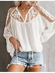 cheap -Women's Shirt - Solid Colored Lace V Neck White